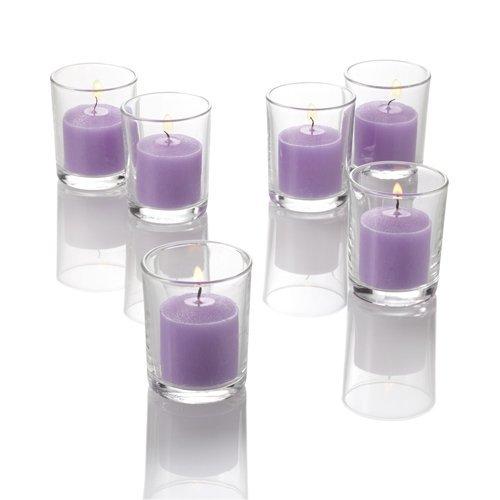 Set of 12 Lavender Richland Votive Candles and 12 Glass Votive (Lavender Glass)