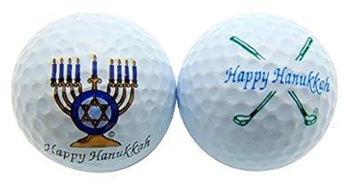 Happy Hanukkah Menorah & Clubs Set of 2 Novelty Golf Ball Fun Golfing Gift for Golfer