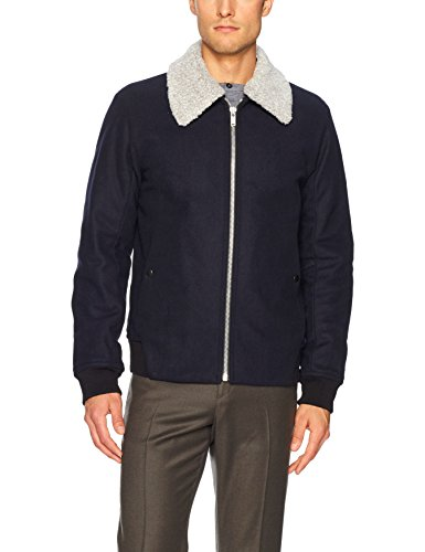 Theory Men's Woll Bomber Jacket with Removable Shearling Collar, Eclipse, XL
