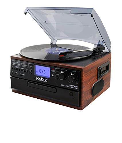 Boytone BT-22M, Bluetooth Record Player Turntable, AM/FM Radio, Cassette, CD Player, 2 built in speaker, Ability to convert Vinyl, Radio, Cassette, CD to MP3 without a computer, SD Slot, USB, AUX (Player Cassette Rca)
