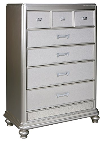 Regency 5 Drawer Chest - Ashley Furniture Signature Design - Coralayne Chest of Drawers - Glamorous Hollywood-Inspired Dresser - Metallic Silver Finish