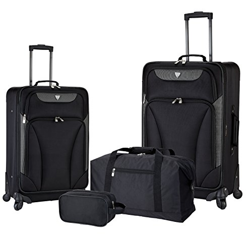 Black Suitcase - Traveler's Club 4 Piece Travel Value Set Includes 25