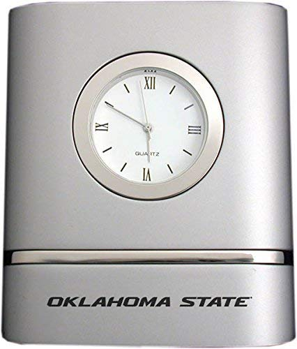 Oklahoma State University-Stillwater- Two-Toned Desk Clock -Silver