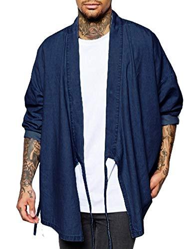 - COOFANDY Men's Kimono Cardigan Lightweight Denim Casual Long Sleeve Drape Cape Open Front Coat