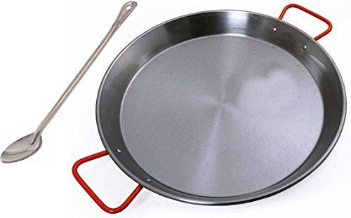Paella Pan by Garcima 23'. 19 Servings Includes 21' Serving Spoon