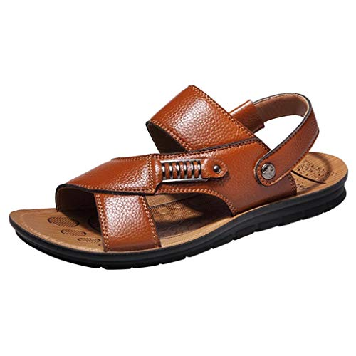 ANJUNIE Men's Newpage Sporty Outdoor Sandal Breathable PU Leather Beach Shoes Slides Slippers(1-Khaki,40)