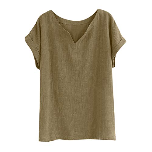 Womens Cotton Linen Tops - Casual Loose Solid Color V-Neck Short Sleeve Bamboo Cotton Fabric Blouse