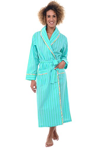 Alexander Del Rossa Womens Cotton Robe, Lightweight Woven Bathrobe, 2XL Green Striped (A0515V072X) - Cotton Plus Size Coat
