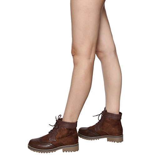 Beston Ej42 Mujeres Lace Up Low Chunky Tacón Brogue Oxfords Zapatos Tobillo Botaie Brown Suede