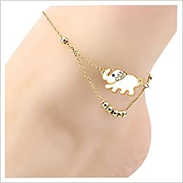 Andyle Anklet Beach Elegant Elephant Chain Crystal Bracelet Foot Jewelry 2PCS