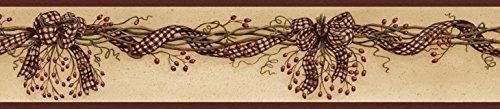 Chesapeake BBC65211B Artemis Sand Rosehip Ribbon Trail Wallpaper Border, Red
