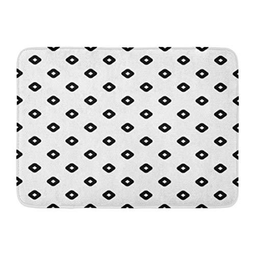 (Emvency Bath Mat Black Rhombuses Contours Pattern Design Diamonds Checks Ethnic Mosaic Hoops Loops Artwork White Bathroom Decor Rug 16