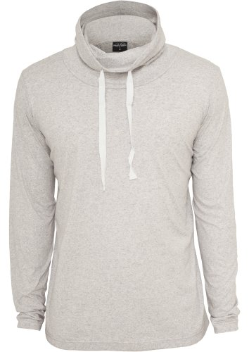 Urban Classics Longsleeve Shirt Melange High Neck L/S Tee , Größe: M, Farbe: lightgrey