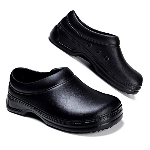 YKH HK9031-heise38 Durable Rubber Work Clogs for Women Men Light Anti-Skid Kitchen Cook Chef Shoes Gardening Clogs Car Washing Shoes (Black, 7.5 Women / 6 Men)