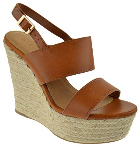 BAMBOO Choice 57 Womens Slingback Buckle Platform Wedge Dress Sandals Tan Burnish 10