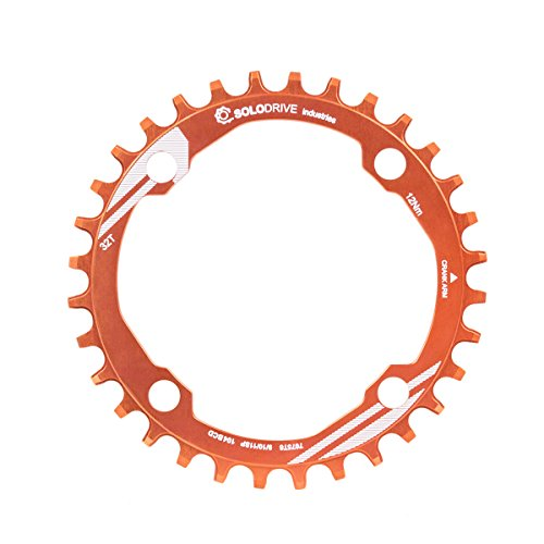 44 Tooth Rear Alloy Sprocket - SOLODRIVE 104BCD Single Chain Ring for 9/10/11-Speed,Orange,32T