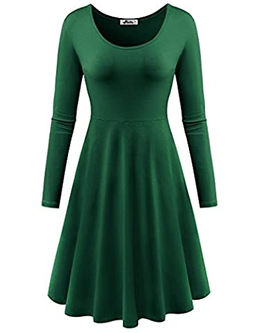 Herou Women Summer Beach Casual Flared Tank Dress (Large, Long Sleeve Green) (Midi Cotton Dress)