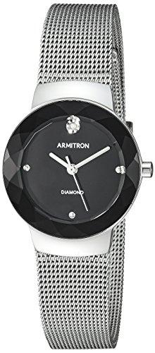 Armitron Women's 75/5567BKSV Diamond-Accented Silver-Tone Mesh Bracelet Watch