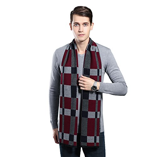 Mens Winter Cashmere Scarf - Ohayomi Fashion Formal Soft Scarves for Men(Black/Grey) by OHAYOMI