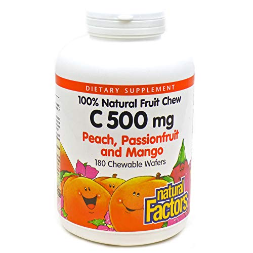 Natural Factors Vitamin C Peach, Passionfruit, Mango Chewables 180 tabs (4-Pack)