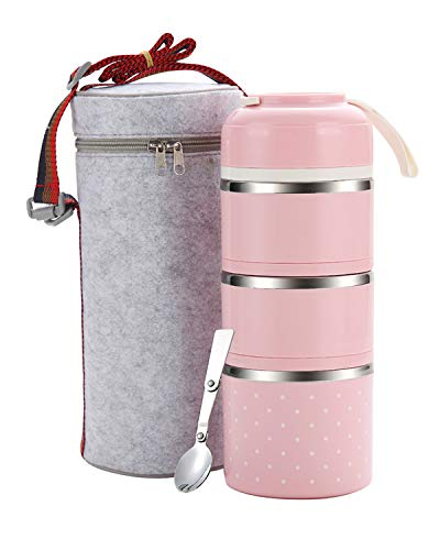 (WORTHBUY Bento Lunch Box Stainless Steel Leakproof Food Storage Containers with Insulated Lunch Bag for Adult and Office (Pink,3 tier))