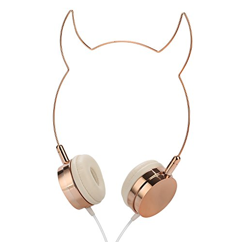 SOMOTOR Wired Headphone, Cool Devil Ox Ear Cute Headphone On Ear Rose Gold]()