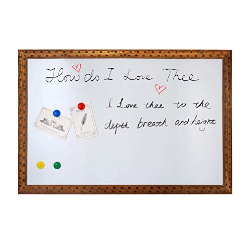 Magnetic Dry Erase Board - 4 THOUGHT 36x24 Inches Whiteboard, Wall-Mounted Magnetic Dry Erase Memo Bulletin Board with Vintage Brown Wooden Ruler Frame for Home Office Kitchen, 4 Magnets Included