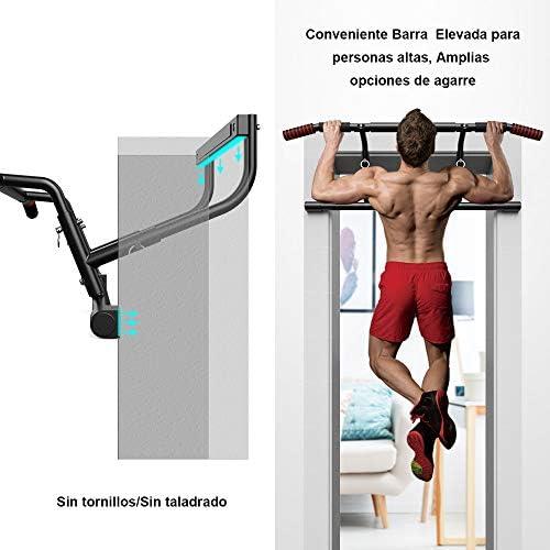 ONETWOFIT Barra para dominadas, Abrazadera Puerta Sin Tornillos Multi Gimnasio en el Hogar Barra para Flexiones Ajustable portátil Interior, Manijas ...
