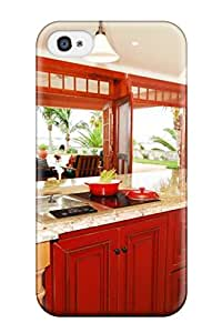 Tpu Case Cover Compatible For Iphone 4/4s/ Hot Selling Case/ Open Kitchen With Large Red Island Granite Countertops Patio View