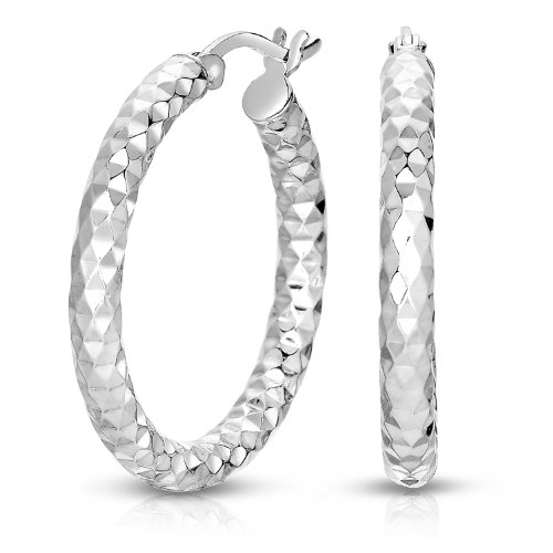 Sterling Silver Round Hoop Earrings, (1'' - Sterling Silver 1' Hoop
