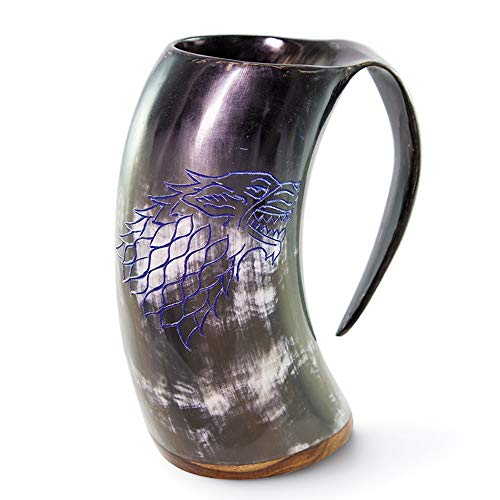 Norse Tradesman Genuine Viking Drinking Horn Mug - 100% Authentic Polished Beer Horn Tankard w/Game of Thrones Direwolf Engraving  