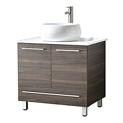 "LifeSky Modern bathroom vanity, White 034 - Size: 30"" Wide by 19"" Deep by 29"" Tall FAUCET AND POP UP DRAIN NOT INCLUDE Constructed in laminate composite wood with 2 door and 1 drawer - bathroom-vanities, bathroom-fixtures-hardware, bathroom - 41q1nW 2jrL. SS400  -"