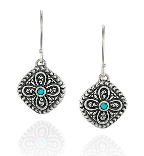 Antique Style 925 Sterling Silver Turquoise Earrings Diamond Shaped With Ornate Floral Design Antique Style Silver Earrings
