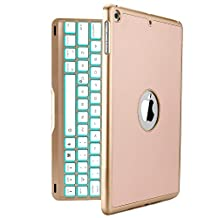New iPad 2017 Keyboard Case, iEGrow New F8S 7 Colors LED Backlit iPad Keyboard with Protective Case Cover for iPad 5th Generation and iPad Air(Gold)
