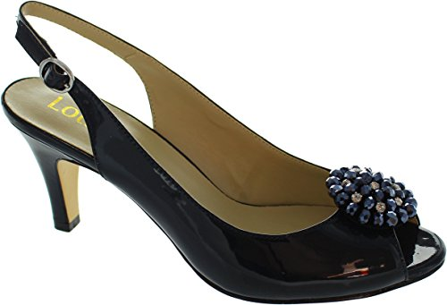 Lotus Damen Elodie Sling Backs Navy Shiny
