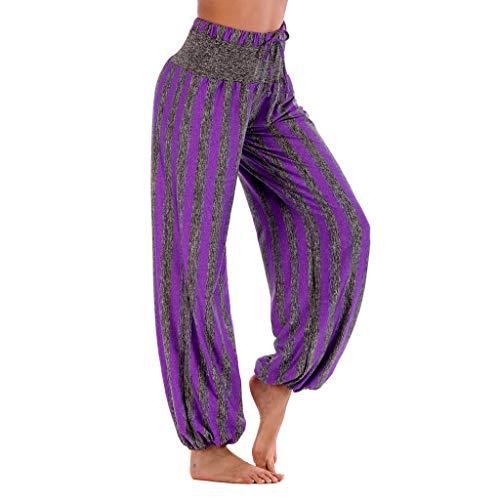 (iYBUIA Loose Striped Print Yoga Pant Casual High Waist Leggings Bloom Trousers)