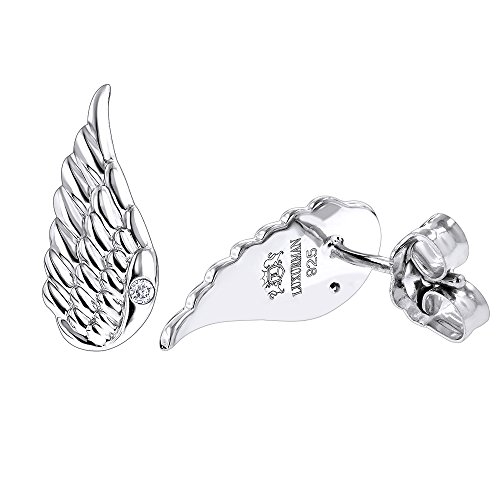 Sterling Silver Diamond Angel Wings Earrings for Women Luxurman Love Quotes 0.02ct,H-I Color,SI-I (Diamond Wing Earrings)