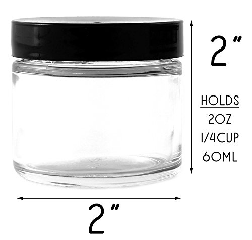 2 Ounce Clear Glass Cosmetic Jars 12 Pack Straight