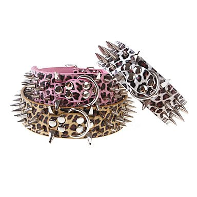 Quick shopping Adjustable Leopard Print Rivets Studded Spike Genuine Lather Collar for Pets Dogs (Assorted colors, Sizes) , gold , L