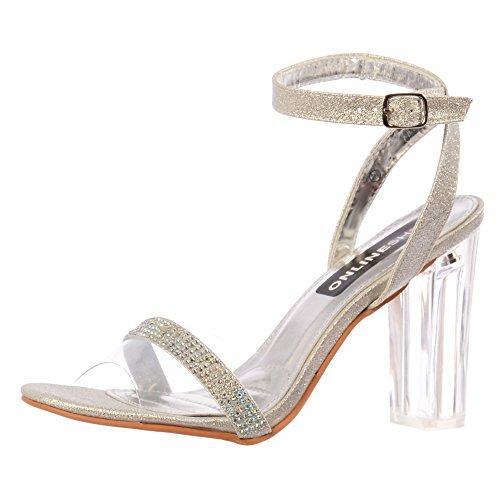 Mediados Tiras Tacón Onlineshoe Zapatos Plata Diamante Fiesta De Mujeres Plexiglás qSn4FxF