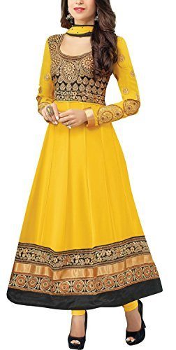Clickedia Women's Faux Gorgette Semi Stitched Anarkali Suit One Size Yellow- Dress Material