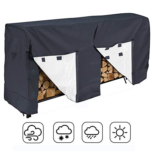 Silvotek Log Rack Cover, 8 Feet Waterproof Wood Rack Cover with Durable and Water Resistant 210D Fabric Material, Outdoor Firewood Cover All-Weather Protection (Best Water Resistant Wood)