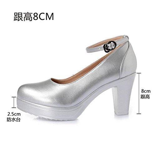 Cuoio calzature scarpe donna 35 solo modello i alti calzature di T con Taiwan rotonda bianco tacchi con argento alta impermeabile 8cm cinghia di testa spessore dello scanalata con wB1gqrInB