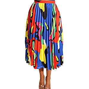 TOB Women's Sexy Summer High Waist Chiffon Printed Colorful Midi Skirt