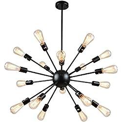 mirrea Vintage Metal Large Dimmable Sputnik Chandelier with 18 Lights, Black Painted