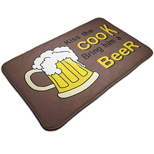 Alan Doormat Kiss The Cook Bring Him A Beer Bath Mat Non Slip Rug Bathroom Bedroom Entrance Carpet 19.5