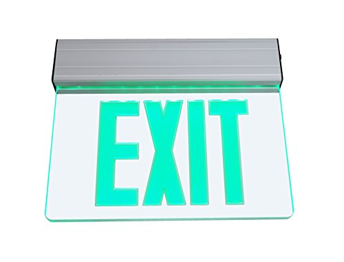 NICOR Lighting Edge Lit LED Emergency Exit Sign, Clear with Green Lettering (EXL2-10-UNV-AL-CL-G-1) ()