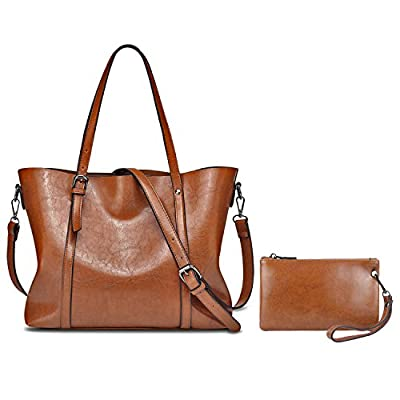 YALXUE Women's Soft Leather Tote Handbag Shoulder Bag with Extra Wallet