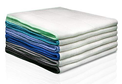 100% Bambus Tücher ohne Mikrofaser [6 STÜCK – 30x30cm] – Bambustücher als Putztücher, Hochglanztücher, Kristalltücher, Geschirrtücher, Fenstertücher, Silberputztücher, oder Glastücher verwenden