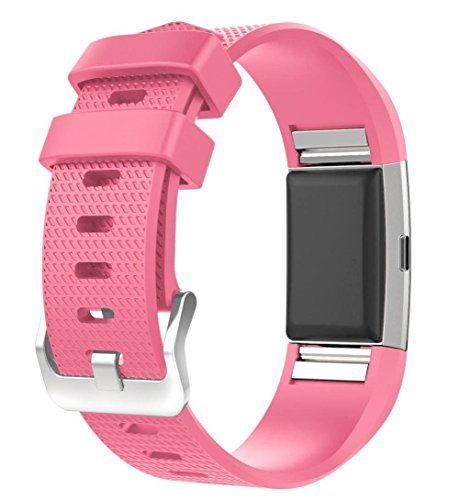 For Fitbit Charge 2 Bands, New Bracelet Strap Replacement Band Wristband with Secure Silicone Fasteners Metal Clasps for Fitbit Charge 2 (No Tracker) (Hot Pink, 5.5 - 8.1 Inches wrist)